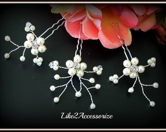 White Ivory Pearl Clip, Bridal Hair Pins, Wedding Hair Accessorie, Swarovski Pearl Wedding Hair Pin Set of 3 Hair Clip, Floral Vine Hair Pin