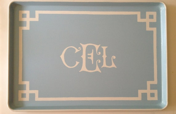 XL white monogram Greek key border light blue ottoman tray