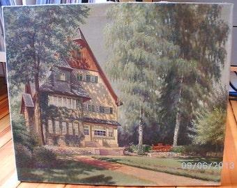 "1950 ""Villa Birchwood"", German impressionist antique painting  E. Brüggemann, oil on canvas."