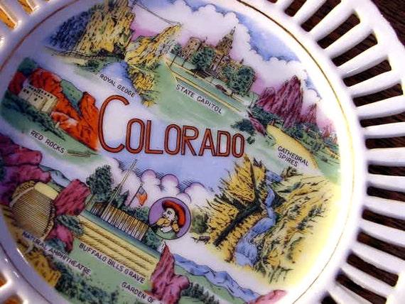 COLORADO PLATE  Souvenir VINTAGE collectible Home Decor
