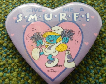 Cool Give Me A Smurf Cheerleader Smurfette Heart Pin