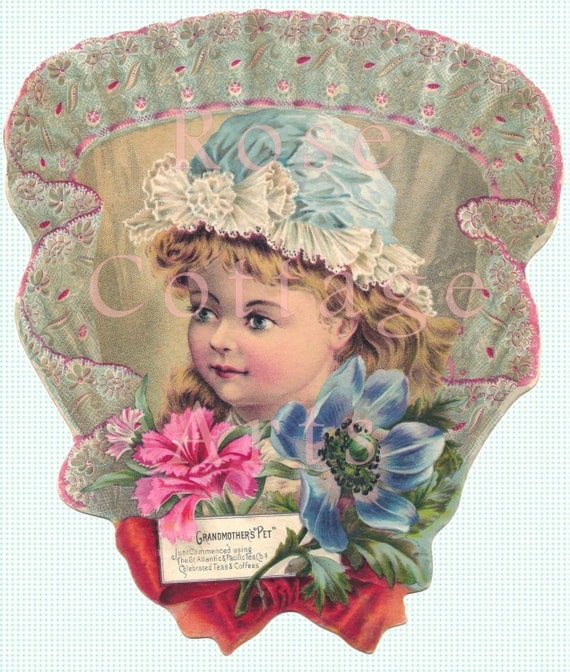 Digital Download Antique Girl on Lace Fan Die Cut Victorian Scrap Graphic Image