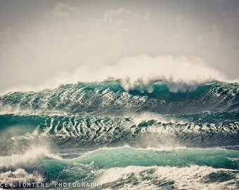 Surf Photography Print - Shimmering Waves, North Shore, Oahu, Hawaii - metallic or lustre