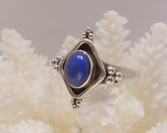 Blue Lapis and Sterling Silver Ring Size 7 and 3/4