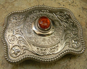 Sterling Silver Genuine Amber Vintage Earring Belt Buckle, Amber Jewelry Womens Mens Western Custom Belt Buckle, Sterling Silver Vintage