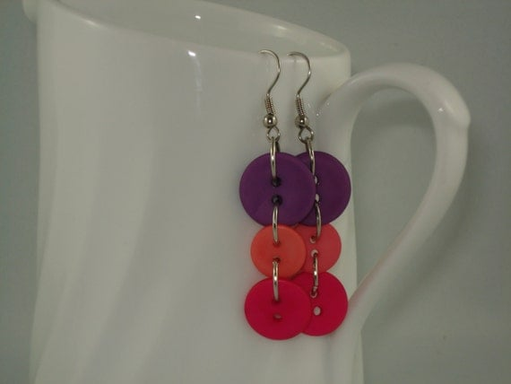 Teen Tween Jewelry, Pink Purple Button Earrings - Fun Colorful Earrings