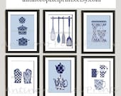 Damask Kitchen Tools Navy Blue White Art Collection  -Set of (6) - 8x10 Prints (Unframed)