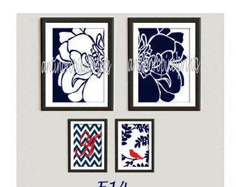 Bird Floral Navy Red Vintage / Modern inspired Prints  -Set of (2) - 8 x 10 (2) 5 x 7 Prints - (UNFRAMED)
