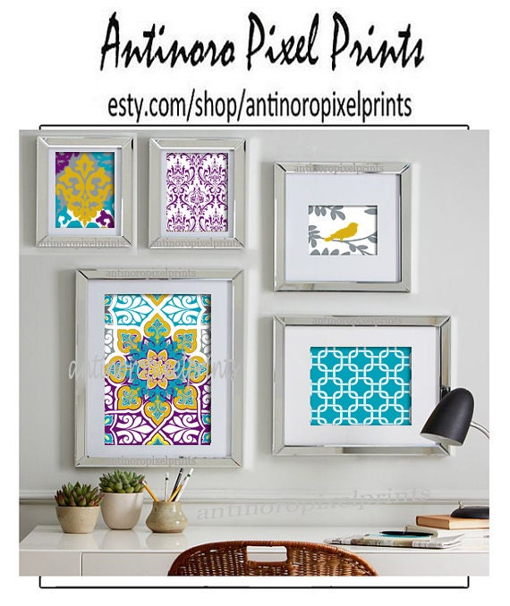 Purple And Yellow Kitchen Wall Art Unframed Kitchen: Yellow Turquoise Purple Ikat Collage Art By