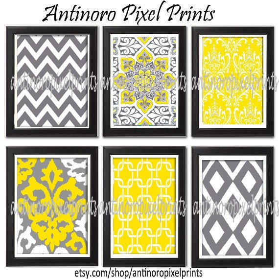 Yellow Greys White Digital Wall Art Vintage / Modern inspired Art Prints   -Set of 6 - 8x11 Prints - Featured in Yellow / Grey (UNFRAMED)