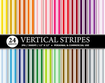 50% OFF SALE 24 Vertical Stripes Digital Scrapbook Paper, digital paper patterns for card making, invitations, scrapbooking