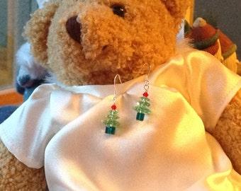 Peridot Green Swarovski Crystal Christmas Tree Earrings