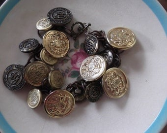 assemblage jewelry, vintage button bracelet, brass mix buttons, steampunk jewelry
