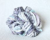 Blackberry Dessert -- Handspun Worsted to Bulky Merino Wool and Tencel Yarn in Purple and White-- 40 Yards