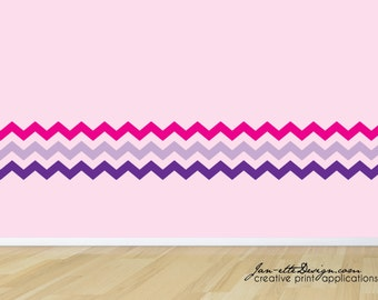 Large Chevron Wall Decal, Chevron Pattern Wall Border, Chevron Wall Art