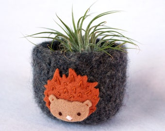 grey wool felted bowl cup with hedgehog