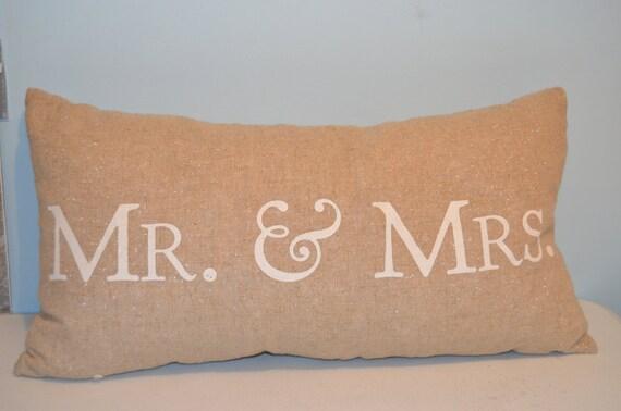 Mr And Mrs Decorative Goose Down Burlap Sparkle Pillow