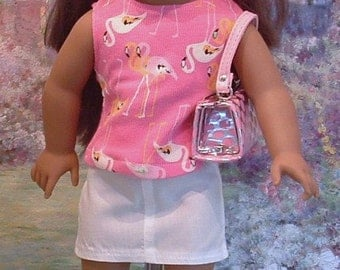 Pink Flamingos and White Mini Skirt with Pocketbook Set