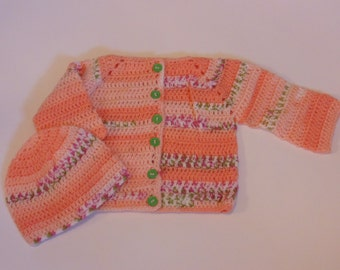 orange multi colored sweater and hat set , 3-6 month (CL)