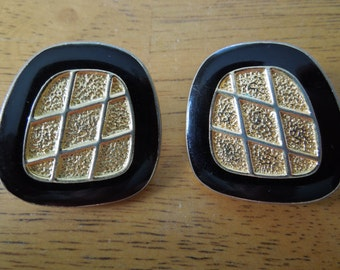 Vintage Clip Earrings, Gold Tone with Black Enamel.  Quite Large, Nice Condition.