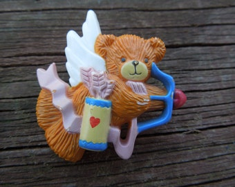 Vintage Enesco Brooch.  Lucy Rigg Angel Bear Archer.  Signed and Dated 1986