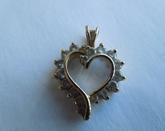 Vintage Silver Pendant with Clear Stones, Heart Shape, Stamped 925 China