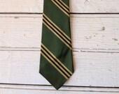 Skinny Necktie- Striped in Green 1960s