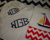 Nautical Set to Include Gown Hat and Burp Cloth Monogrammed
