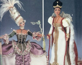Simplicity Diva Pattern 7025 for Authentic Reproduction Marie Antoinette Dresses - Two Dress Patterns - Eleven And One Half In Fashion Doll