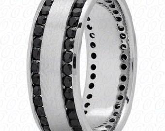 Men's Wedding Band White Gold with Black Diamonds