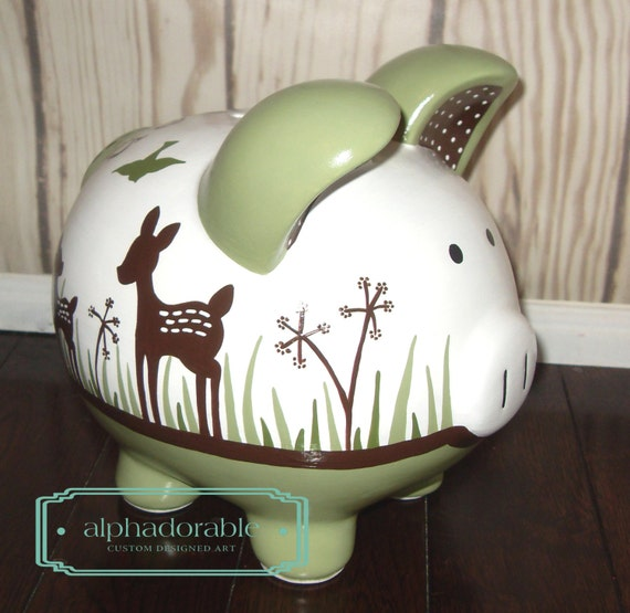 Large willow deer artisan hand painted ceramic by alphadorable - Extra large ceramic piggy bank ...