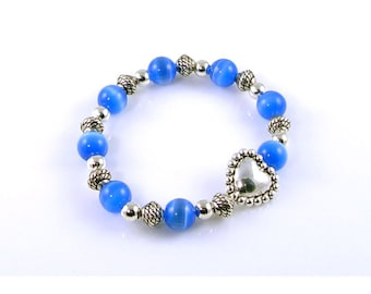 Blue Cats Eye Stretch Bracelet with Silver Heart Bead