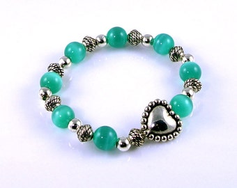 Teal Stretch Bracelet Cats Eye Beads with Silver Bali Heart Bead