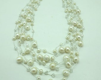 Wedding necklace multi strand freshwater pearl with crystal.