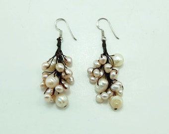 Light pink freshwater pearl earring hoop.