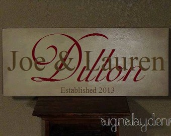 "Wedding Sign, Family Name Sign with First & Last Names, Anniversary Sign with Year Established - 24"" x 10"" SignsbyDenise"
