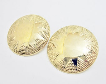 1970 or 80s gold shield earrings pierced post