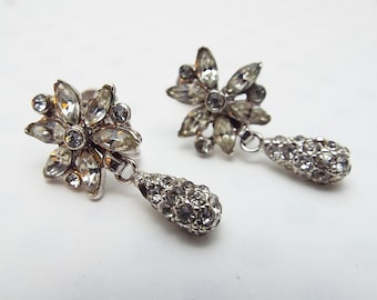 Very Old Rhinestone Screw Back Earrings Silver Tone