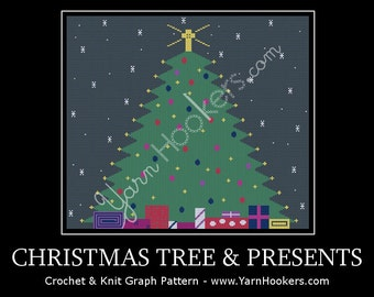 Christmas Tree with Presents - Afghan Crochet Graph Pattern Chart - Instant Download