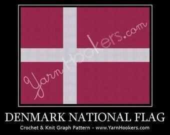 Denmark National Flag - Afghan Crochet Graph Pattern Chart - Instant Download