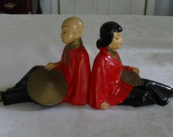 Retro Asian Figurines, Man and Woman, Vintage Mid Century