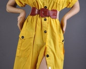 Gorgeous 70's Vintage Canary Yellow Dress by Howard Wolf