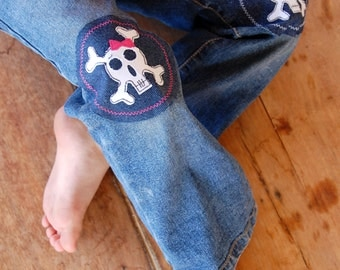 Pink Bow Skull Applique Iron On Knee Patch For Children