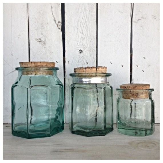 green glass kitchen canisters vintage mint green glass canister jars with by mellafina 3987