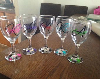 Wine Glass Decal Etsy - Custom vinyl decals for wine glasses