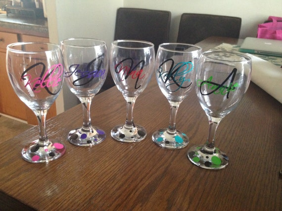 Gallery Of Custom Monogram Vinyl Wine Glass Decals Bridal Party With Bridal Shower  Host Gift