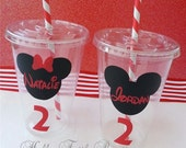 Set of 15 - Minnie Mouse Party Cups with Lids and Straws, Minnie Mouse Party Decor, Mickey Mouse Party Cups, Mickey Decor Personalized