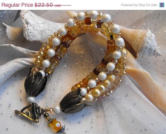 Handmade Bracelet Freshwater Pearl Multistrand Bracelet Chunky