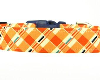 Dog Collar, Navy Orange Dog Collar, Pet Collar: Tic Tac Plaid