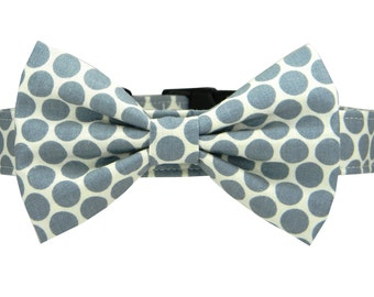 Bow Tie Dog Collar, Gray Dots Dog Collar Bow Tie, Bowtie Collar: Charcoal Dots